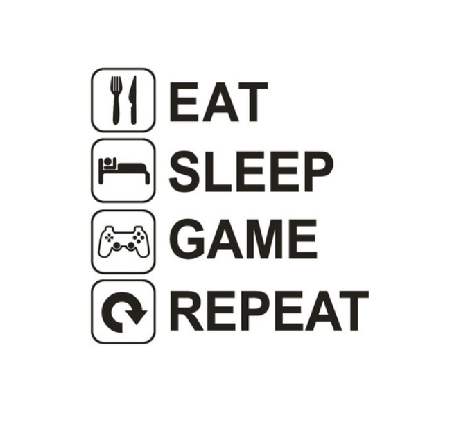 gaming wall sticker - eat, game, sleep, repeat | floating grip®